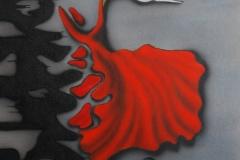 blad-rood op doek 30x40 cm