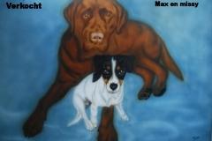 Labrador en-Jack-Russel-Max-en-Missy op Doek 50x60 cm
