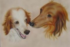 spaniel-honden-fokkie-en-idefix op Doek 50x60 cm