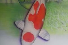 Japanse-Koi-Kohaku op Trespa 50x60 cm