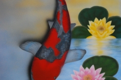 Japanse-koi-Goshiki op Trespa 50x60 cm
