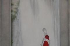 japans-doorkijk-met-japanse-koi-kohaku op Hout 60x120 cm