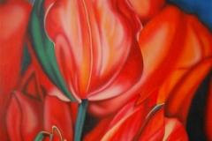 tulpen op Hout 60x80 cm